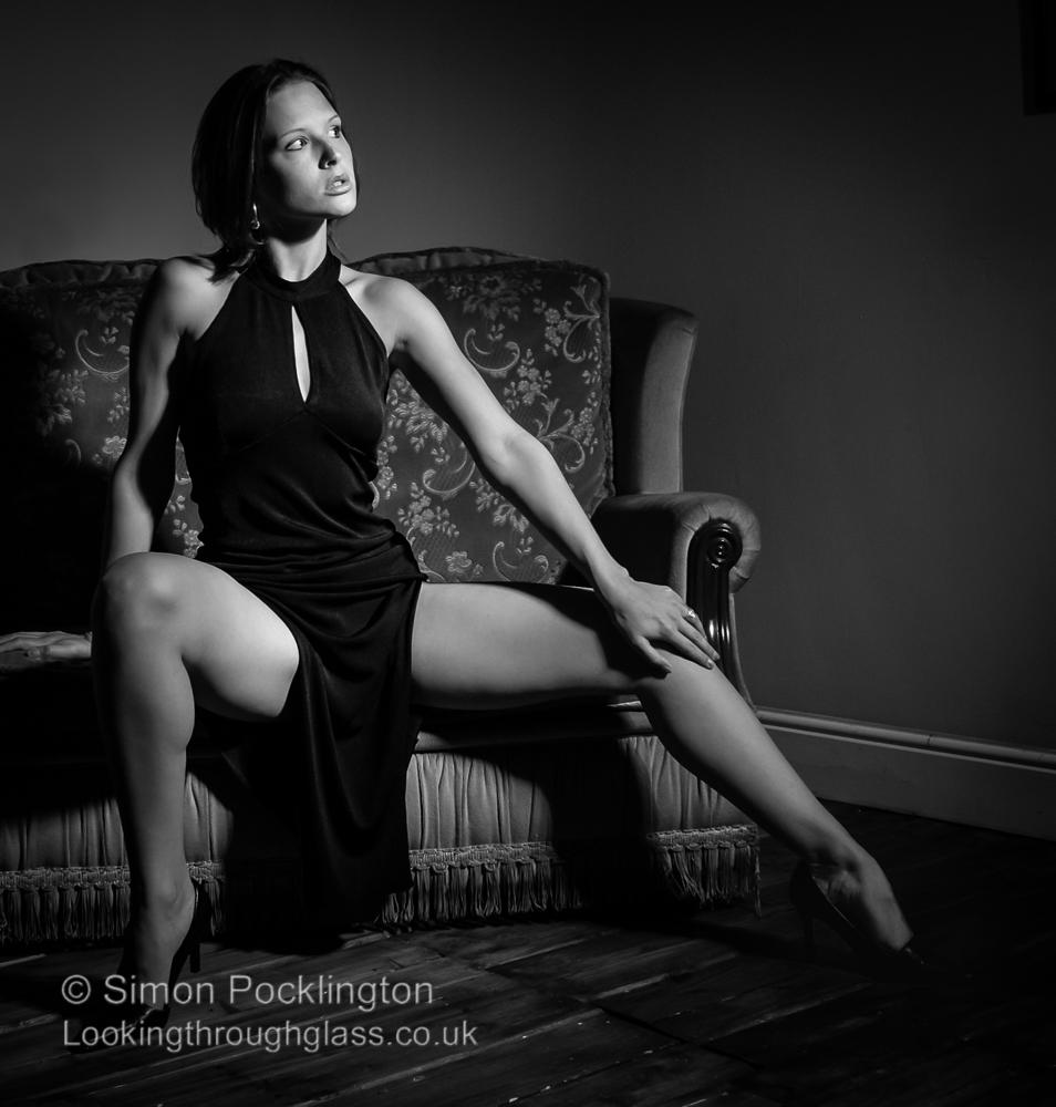 Erotic black and white boudoir photo